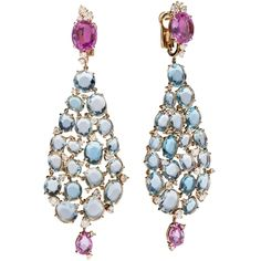 Pomellato - white gold with facetted pink sapphires, flat rose cut aquamarine and brilliant cut diamonds.