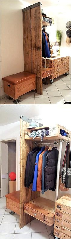 It is not always necessary to buy a wardrobe that is fully covered; a unique upcycled wood pallet  wardrobe idea is presented here, which is without the door and is not covered. There is storage space and also a drawer just like the wardrobe that is available in the market.