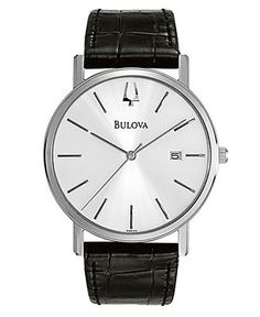 Bulova Watch, Men's Black Croc Embossed Leather Strap 37mm 96B104 - Men's Watches - Jewelry & Watches - Macy's