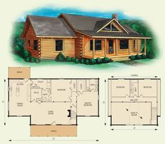 buchanan log home and log cabin floor plan - Cabin Floor Plans