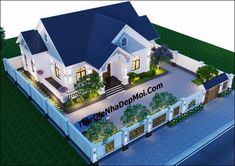 Thiết kế nhà vườn trệt 3 phòng ngủ 16x12 Home Building Design, Building A House, Future House, My House, Modern Bungalow Exterior, House Design Pictures, Facade House, Home Fashion, House Colors