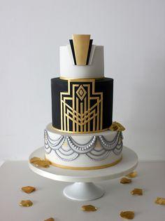 A very elegant art deco design wedding cake. French Wedding Cakes, Fondant Wedding Cakes, Art Deco Wedding Cakes, Fondant Cakes, Great Gatsby Cake, Great Gatsby Themed Wedding, Gatsby Party, Art Deco Cake, Cake Art