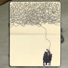 Mesh (sketch)_Moleskine (Ink and photo), 2012_Mariasun Salgado