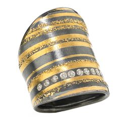Ring | Atelier Zobel Design.  24k yellow gold and graphite sterling silver with brilliant-cut champagne diamond accents