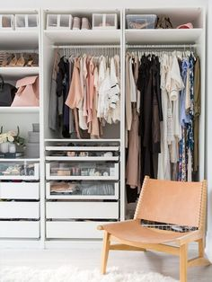 IKEA Closet Organization featured favorites home interior designers with Lark & Linen Closet Bedroom, Bedroom Decor, Bedroom Ideas, Closet Space, Ikea Pax Closet, Ikea Closet System, Ikea Custom Closets, Diy Custom Closet, Girl Closet