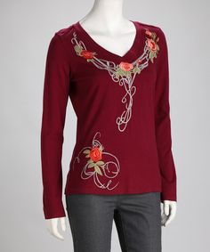 Take a look at this Biz Burgundy Embroidered Floral Top by Bella Carra on #zulily today! $20 !!