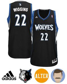ad9f5aad781 Sport this Men s Adidas Minnesota Timberwolves  22 Andrew Wiggins Black  Revolution 30 Swingman Alternate Jersey