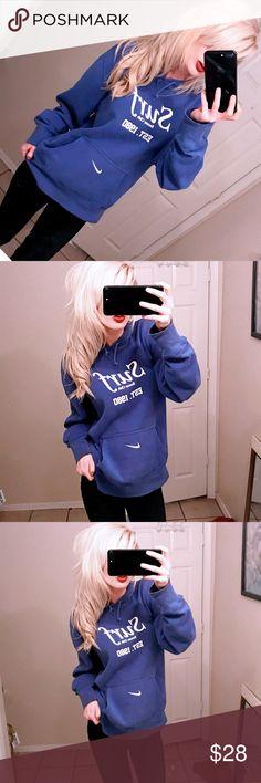 ✔️ Nike blue pullover over hoodie sweatshirt ✔️ Nike blue polo over hoodie pullover small Size medium  Pullover cotton sweatshirt  Front kangaroo pocket  SURF soccer  Blue and white logo  Great condition Nike Tops Sweatshirts & Hoodies