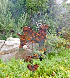 Jack Russell Garden Stake / Metal / Garden Art / Yard Art / Copper Art / Pet Memorial / Home Decoration / Grave Marker / Dog Angel / Patina
