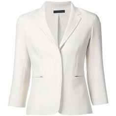 The Row 'Maverick' blazer featuring polyvore, fashion, clothing, outerwear, jackets, blazers, blazer, white, white blazer, 3/4 sleeve jacket, three quarter sleeve blazer, white jacket and 3/4 sleeve blazer