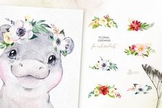 Ad: Babies of Africa. Watercolor Set by OctopusArtis on Look at these cute babies from Africa! We advise you to keep your eye on these cute lovely animals. This Watercolor Collection includes Commercial Fonts, Graphic Illustration, Illustrations, Floral Crown, Paper Background, Nursery Art, Giraffe, Cute Babies, Floral Wreath