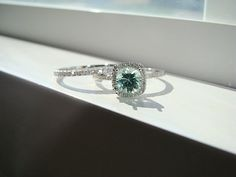 !!!! 3rd Choice, 11/2013 Halo Blue Green Mint Garnet Diamond Ring Gemstone by PenelliBelle, $1049.00