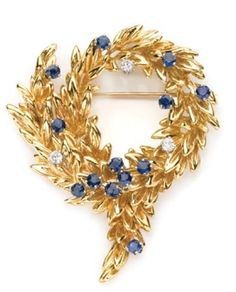 Gold Sapphire and Diamond Wreath Brooch Tiffany & Co. 18 kt