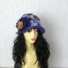 Womens hat Cloche Hat Flapper Hat Felt hat cloche by AlbadoFashion