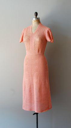 1930s coral cotton hand crochet dress