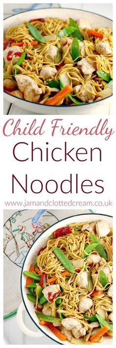 Kids Meals Child Friendly Chicken Noodle Stir Fry - A child friendly chicken noodle stir fry recipe with lots of fresh veggies in a soy honey sauce. Chicken Stir Fry With Noodles, Chicken Noodle Recipes, Toddler Chicken Recipes, Baby Food Recipes, Dinner Recipes, Cooking Recipes, Family Recipes, Dinner Ideas, Healthy Foods To Eat