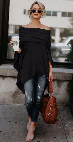 59e3b23abeb Off Shoulder Slit Irregular Loose Fit Tee Spring Outfits