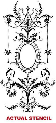 Wall stencil MarieAntoinette Grand Panel LG by CuttingEdgeStencils, $119.95