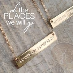Custom Latitude Longitude Necklace  Going by DesignedToShineAcc, $32.00  So Daniel and I match :)