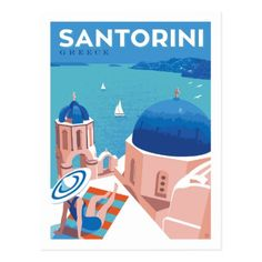 Anderson Design Group – World Travel – Greece: Santorini Santorini Travel, Greece Travel, Crete Greece, Athens Greece, Spain Travel, City Poster, Photo Vintage, Travel Illustration, Vintage Travel Posters