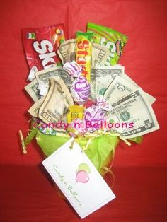 candy and money bouquet