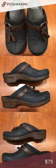 74c324bcc7a0ba Dansko Shandi Navy blue tassel clogs. Size38 US 8 Adorable especially for  the fall