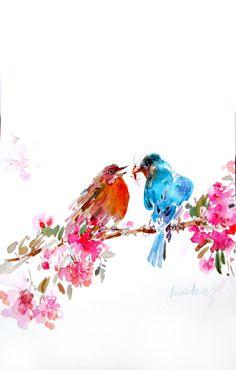 Original paintingwatercolour paintingbird size by Yimoartstudio