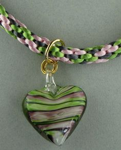 Pink and Green Kumihimo Necklace