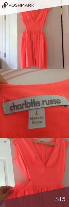Coral cut out dress Like new! never been worn.. so cute for the summer! Charlotte Russe Dresses