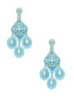 Turquoise Multi-Drop Earrings by Miguel Ases at Gilt