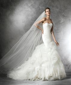 Sleeveless+Sweetheart+Court+Train+Tulle+Trumpet+Mermaid+Wedding+Dress+Apr0201