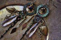 Steampunk Kuchi Earrings Mechanical Tears by siphonophoria on Etsy, $28.00