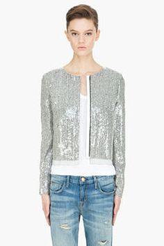 ShopStyle: Diane von Furstenberg grey Tamali Crystal Tweed Sequin Jacket
