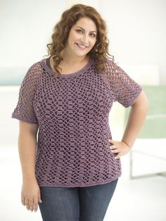 Curvy Girl Openwork Top Down Pullover. Crochet this easy and flattering plus size pullover with 5 balls of Vanna's Glamour! Pattern calls for size F-5 (3.75 mm) crochet hook.
