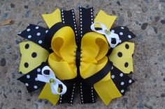 Bumble Bee Hair Bow Large boutique Hair Bow by MyLuckyHairBow, $8.00