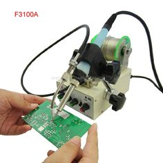 83.73$  Watch now - http://alirc4.worldwells.pw/go.php?t=32694246338 - 1pcs Automatic tin feeding machine constant temperature soldering iron Teclast iron F3100A multi-function foot soldering machine 83.73$