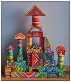 how fun would a set of these be for a kid..or even a big kid.. Rainbow Vintage Colourful Wooden Building Blocks by ElspethMcLean, $86.00