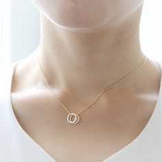 Two Open Circles Necklace / choose your color gold and by laonato £8