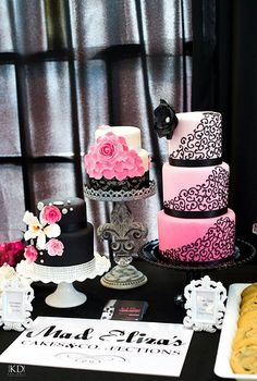 Pink and black theme wedding cakes #wedding #pink #weddingcake #black #vintage