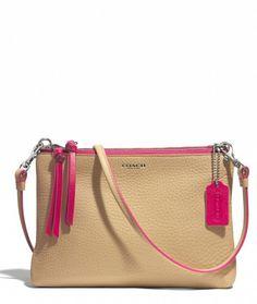 Beige Coach Handbag w/ Magenta Trim & Tassel