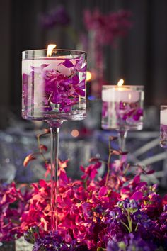 DIY Wedding Flower Arrangements: There is something magical about floating floral arrangements that are tall. These centerpieces are definitely attention grabbing! Floral arrangements diy Floating Wedding Flowers for the Dreamiest Reception Simple Wedding Centerpieces, Diy Wedding Flowers, Wedding Flower Arrangements, Purple Wedding, Floral Arrangements, Wedding Decorations, Table Decorations, Centerpiece Ideas, Candle Centerpieces