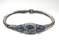 Art Deco Bracelet Sapphire Blue Cabochons by TonettesTreasures