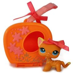 ✵Littlest Pet Shop✵LPS✵525 VARIANT✵ORANGE STRIPPED KITTY CAT✵HOUSE ACCESSORY✵BOW