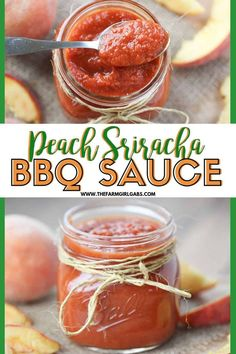 This sweet and spicy Peach Sriracha Barbecue Sauce recipe is so easy to make and tastes better than anything you can buy at the store. Made with fresh peaches, this peach bbq sauce recipe is perfect for dipping and grilling your favorite meats. Peach Bbq Sauce Recipe, Barbecue Sauce Recipes, Grilling Recipes, Sriracha Recipes, Sriracha Sauce, Supper Recipes, Great Recipes, Favorite Recipes, Potluck Recipes