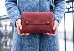 Leather Clutch/ Handmade Clutch/ Handbag/ Women Gift/ Minimal Clutch/ Womens Clutch/ Brown Leather Clutch by PodkovaShop on Etsy