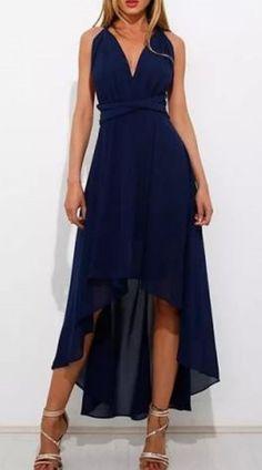 Love Love LOVE this Dress! Sexy Dark Blue Plunging Neck Asymmetrical Hem Convertible Party Dress #Sexy #Plunging #Neckline #Party #Dress #Fashion