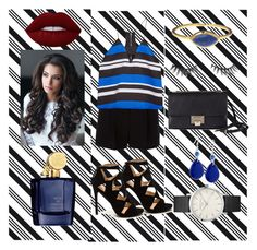 """""""All About those Stripes"""" by designsby-caroline on Polyvore featuring Darice, DKNY, Finders Keepers, Benefit, Lime Crime, GUESS, Jimmy Choo, Aedes De Venustas and stripedshirt"""