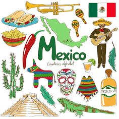 Illustration of Fun colorful sketch collection of Mexico icons, countries alphabet vector art, clipart and stock vectors. Geography For Kids, World Geography, Cultures Du Monde, World Cultures, Mexico Country, Mexico Culture, World Thinking Day, Travel Icon, Illustration