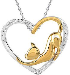 jcpenney FINE JEWELRY ASPCA Tender Voices 1/10 CT. T.W. Diamond Cat Heart Pendant Necklace on shopstyle.com