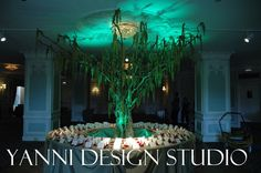 Large mossy dragon wood tree as place card table decorations with LED up-lighting. Card Tables, Table Centerpieces, Table Decorations, Drake Hotel, Wood Tree, Place Cards, Chicago, Dragon, Led